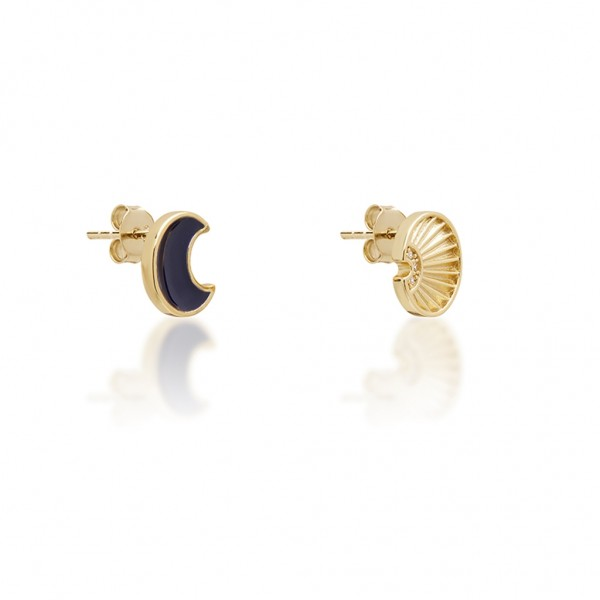 JCOU Sun and Moon Earring Silver 925° Gold Plated 14K JW901G4-02