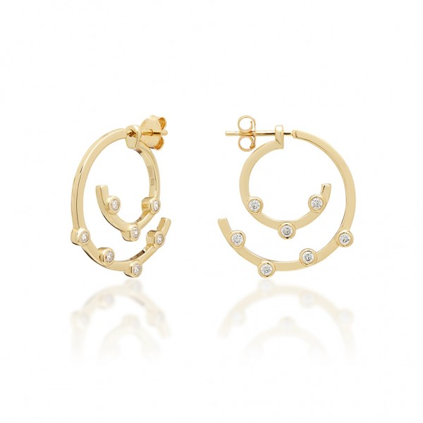 JCOU Round Minimal Earring Silver 925° Gold Plated 14K JW906G4-04