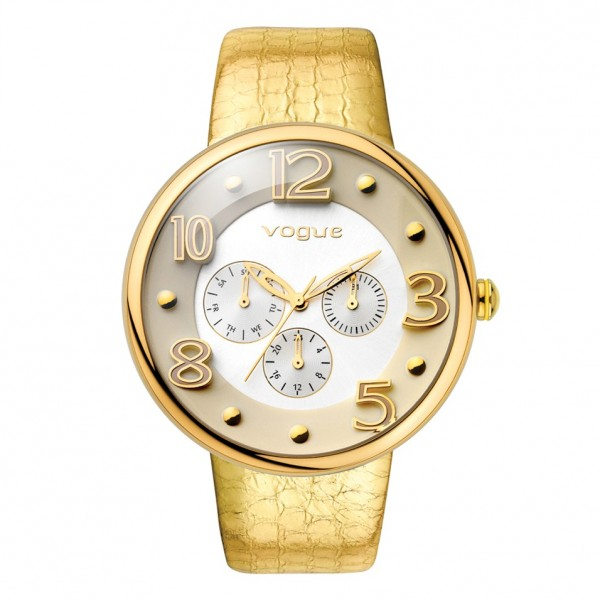 VOGUE Dome 17024.3 Multifunction Gold Leather Strap