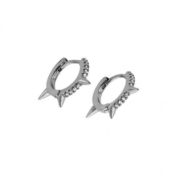 BREEZE Handmade Earring Thorn Touch Zircons | Silver Metal 210014.4