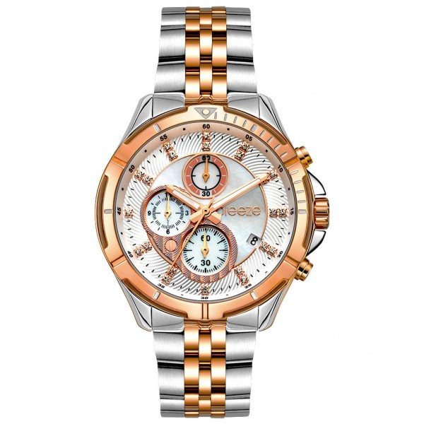BREEZE Empressa 712191.4 Chronograph Crystals Two Tone Stainless Steel Bracelet