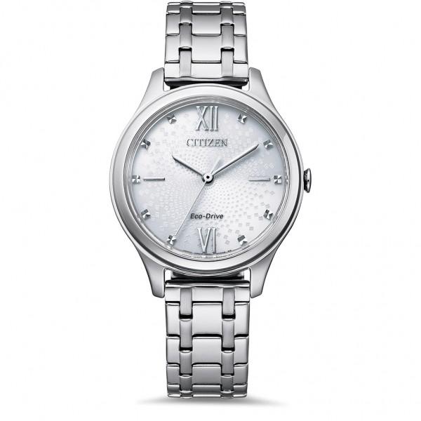 CITIZEN Elegance Ladies EM0500-73A Eco-Drive Crystals Silver Stainless Steel Bracelet