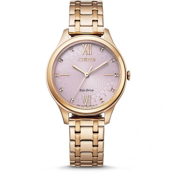 CITIZEN Elegance Ladies EM0503-75X Eco-Drive Crystals Rose Gold Stainless Steel Bracelet