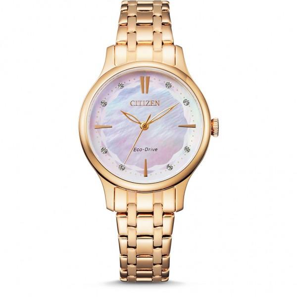 CITIZEN Elegance Ladies EM0893-87Y Eco-Drive Crystals Gold Stainless Steel Bracelet