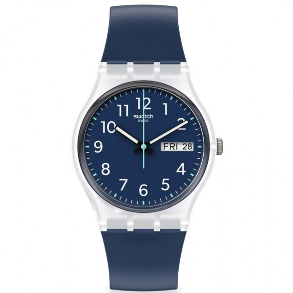 SWATCH Rinse Repeat Navy GE725 Blue Silicone Strap