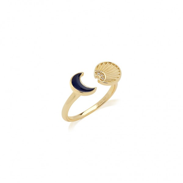 JCOU Sun and Moon Ring Silver 925° Gold Plated 14K JW901G0-01