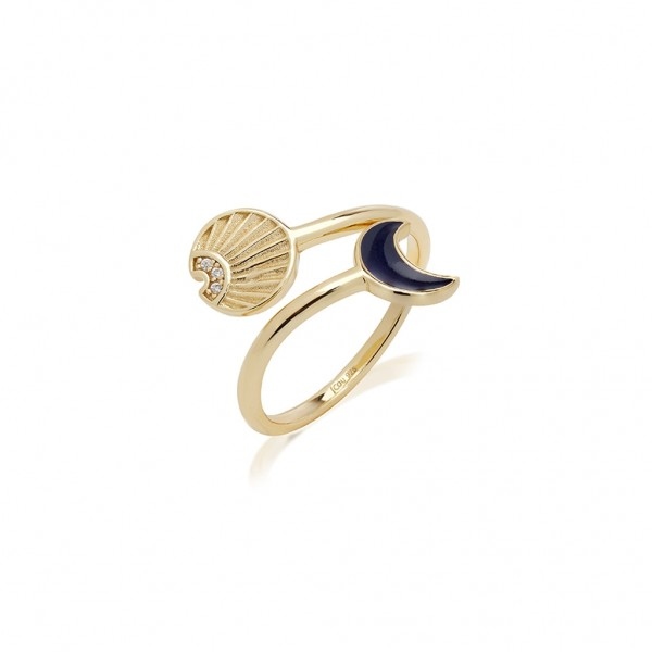 JCOU Sun and Moon Ring Silver 925° Gold Plated 14K JW901G0-02