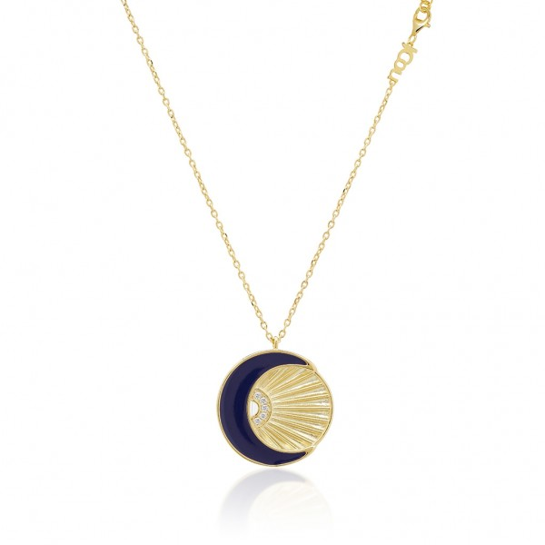 JCOU Sun and Moon Necklace Silver 925° Gold Plated 14K JW901G1-01