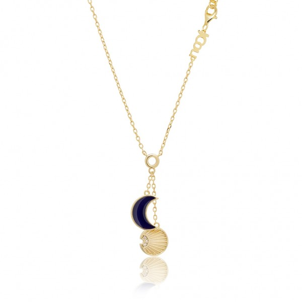 JCOU Sun and Moon Necklace Silver 925° Gold Plated 14K JW901G1-02