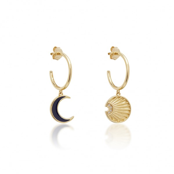 JCOU Sun and Moon Earring Silver 925° Gold Plated 14K JW901G4-01