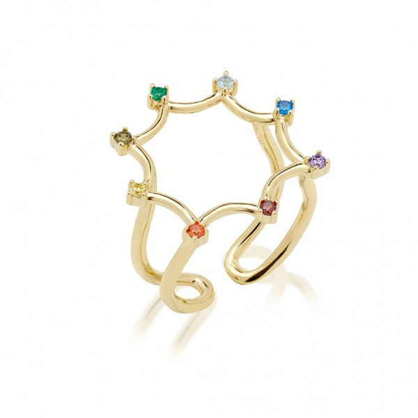 JCOU Rainbow Ring Silver 925° Gold Plated 14K JW902G0-01
