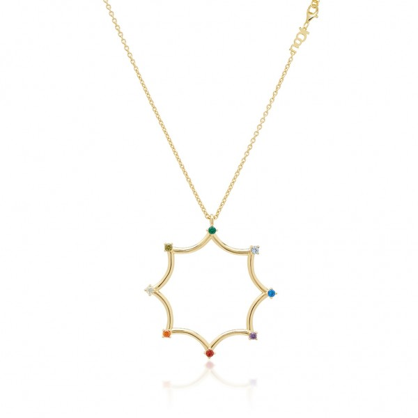 JCOU Rainbow Necklace Silver 925° Gold Plated 14K JW902G1-01