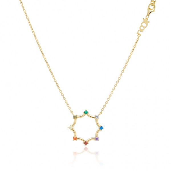 JCOU Rainbow Necklace Silver 925° Gold Plated 14K JW902G1-03