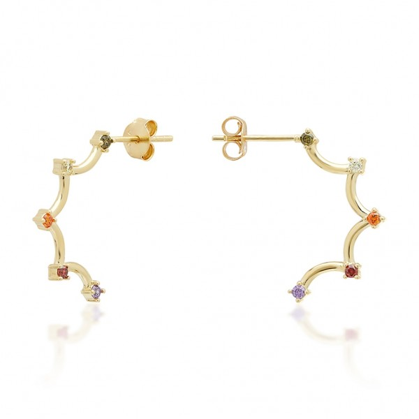 JCOU Rainbow Earring Silver 925° Gold Plated 14K JW902G4-01