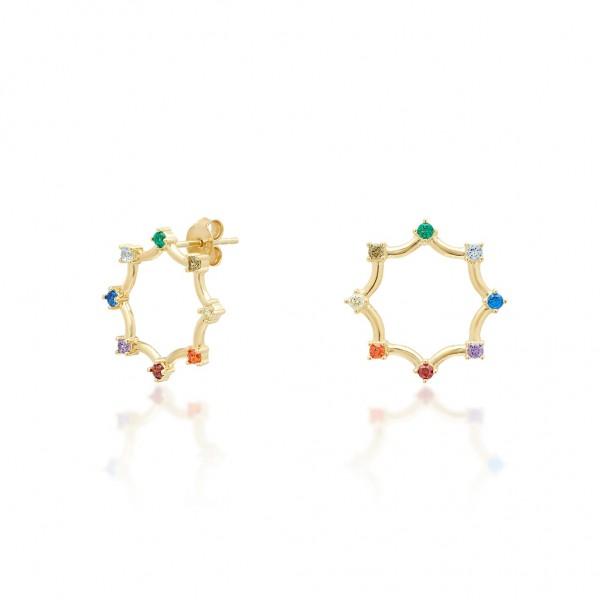 JCOU Rainbow Earring Silver 925° Gold Plated 14K JW902G4-03