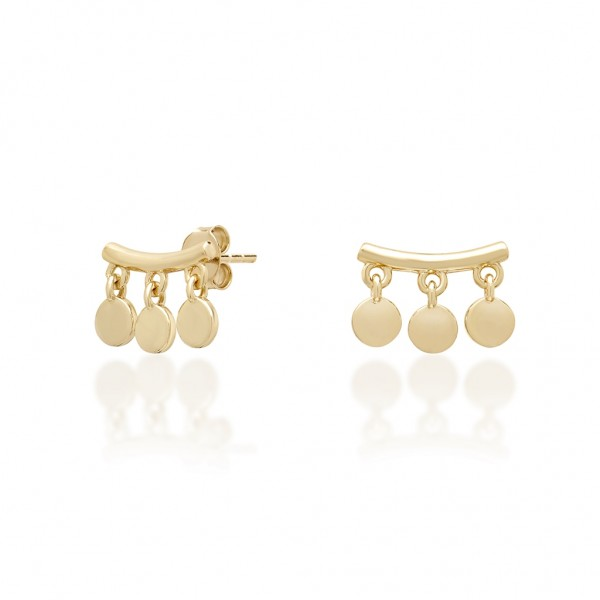 JCOU Coins Earring Silver 925° Gold Plated 14K JW905G4-01