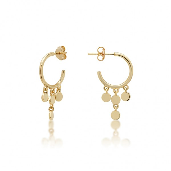 JCOU Coins Earring Silver 925° Gold Plated 14K JW905G4-02