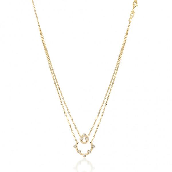 JCOU Round Minimal Necklace Silver 925° Gold Plated 14K JW906G1-01