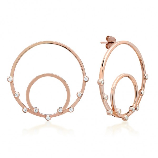 JCOU Round Minimal Earring Silver 925° Rose Gold Plated JW906R4-02