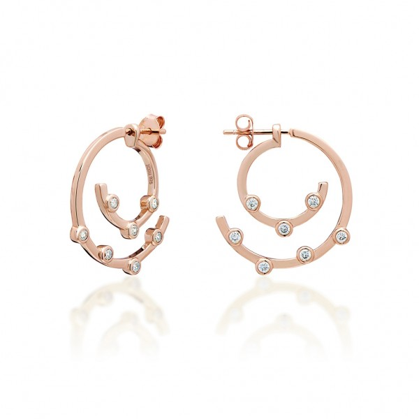 JCOU Round Minimal Earring Silver 925° Rose Gold Plated JW906R4-04