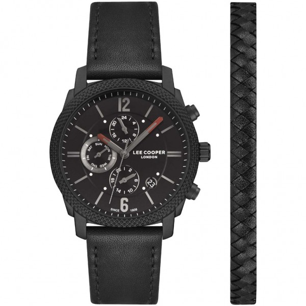 LEE COOPER Gents LC07077.651 Dual Time Black Leather Strap Gift Set