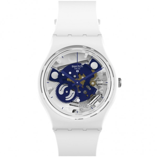 SWATCH Time To Blue Small SO31W103 Bioceramic Case-White BioSourced Material Strap