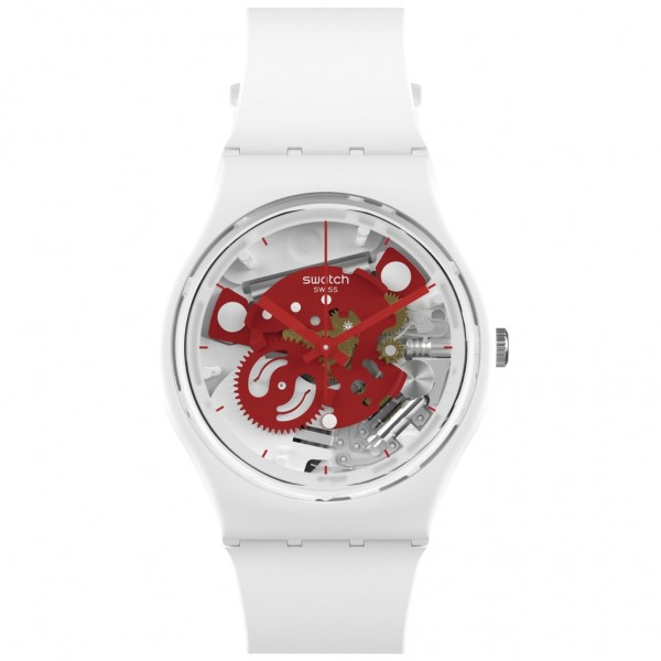 SWATCH Time To Red Small SO31W104 Bioceramic Case-White BioSourced Material Strap