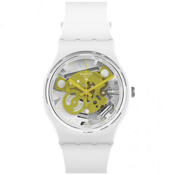 SWATCH Time To Yellow Small SO31W105 Bioceramic Case-White BioSourced Material Strap