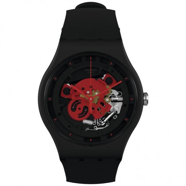 SWATCH Time To Red Big SO32B110 Bioceramic Case-Black BioSourced Material Strap