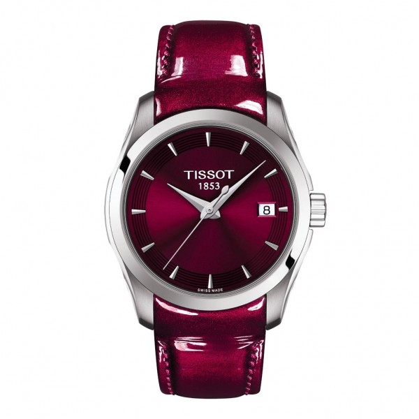 TISSOT T-Classic Couturier Lady Burgundy Leather Strap T0352101637101