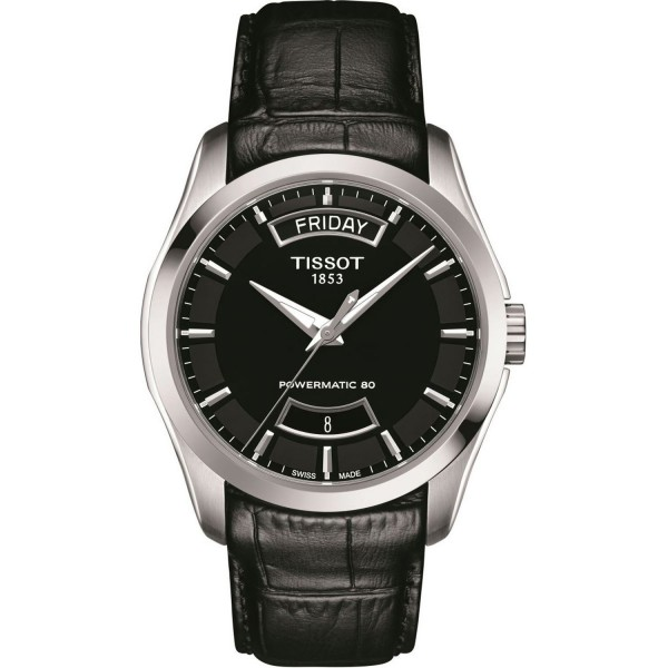 TISSOT T-Classic Couturier Powermatic 80 Automatic Black Leather Strap T0354071605102