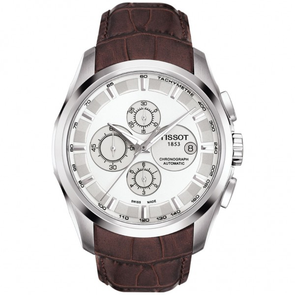 TISSOT T-Classic Couturier Chronograph Automatic Brown Leather Strap T0356271603100