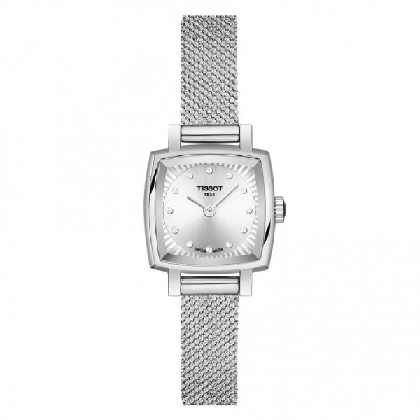 TISSOT T-Lady Lovely Square Diamonds Silver Stainless Steel Bracelet T0581091103600