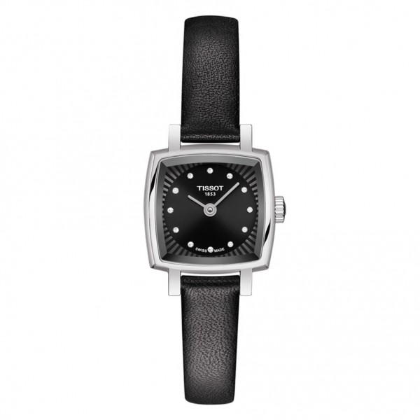 TISSOT T-Lady Lovely Square Diamonds Black Leather Strap T0581091605600
