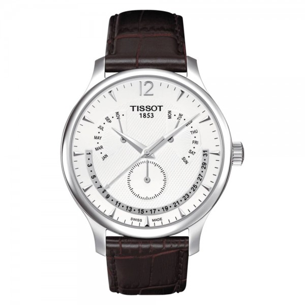 TISSOT T-Classic Tradition Perpetual Calendar Brown Leather Strap T0636371603700