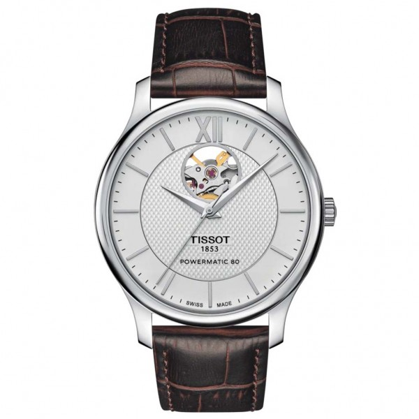 TISSOT T-Classic Tradition Powermatic 80 Open Heart Automatic Brown Leather Strap T0639071603800