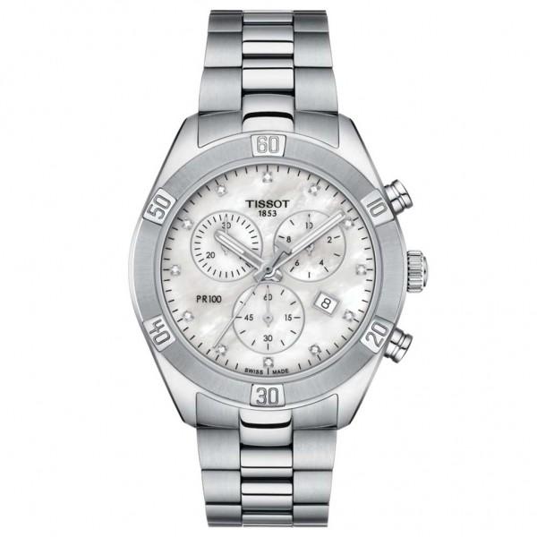 TISSOT T-Classic PR 100 Sport Chic Diamonds Chrono Silver Stainless Steel Bracelet T1019171111600