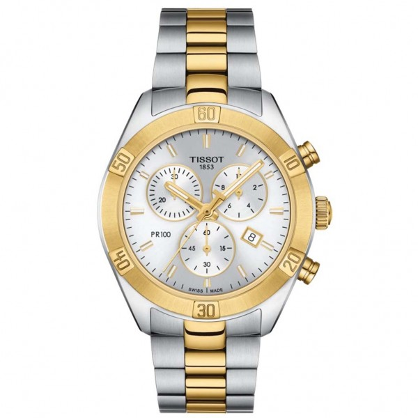 TISSOT T-Classic PR 100 Sport Chic Chronograph Two Tone Stainless Steel Bracelet T1019172203100