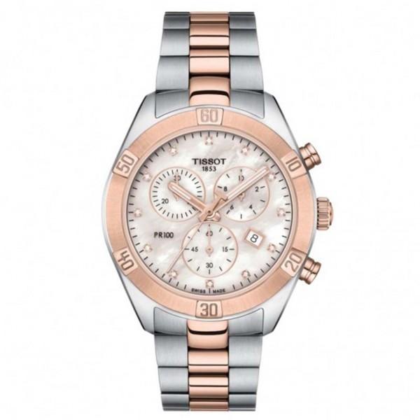 TISSOT T-Classic PR 100 Sport Chic Diamonds Chronograph Two Tone Stainless Steel Bracelet T1019172211600