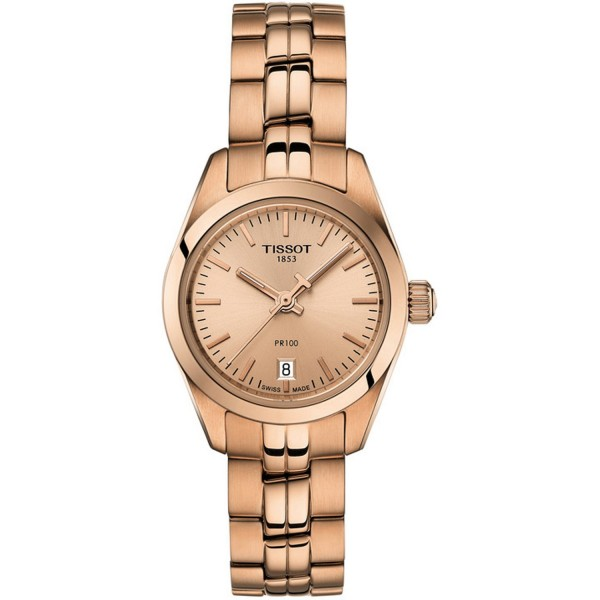 TISSOT T-Classic PR 100 Lady Small Rose Gold Stainless Steel Bracelet T1010103345100
