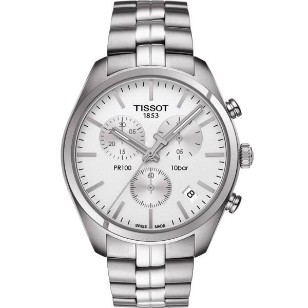 TISSOT T-Classic PR 100 Chronograph Silver Stainless Steel Bracelet T1014171103100