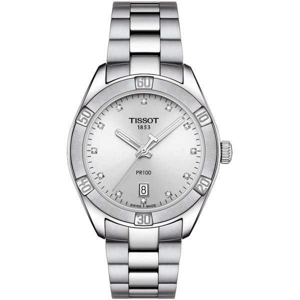 TISSOT T-Classic PR 100 Sport Chic Diamonds Silver Stainless Steel Bracelet T1019101103600