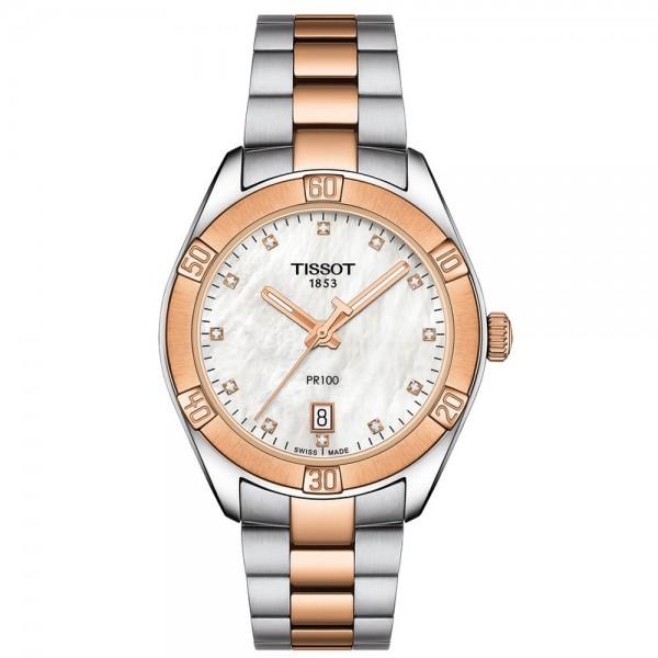 TISSOT T-Classic PR 100 Sport Chic Diamonds Two Tone Stainless Steel Bracelet T1019102211600