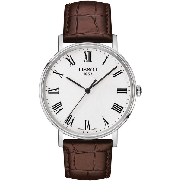 TISSOT T-Classic Everytime Medium Brown Leather Strap T1094101603300