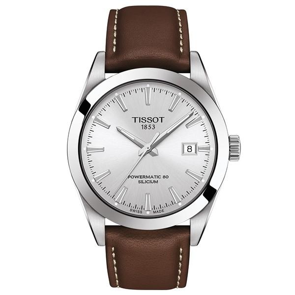 TISSOT T-Classic Gentleman Powermatic 80 Silicium Brown Leather Strap T1274071603100