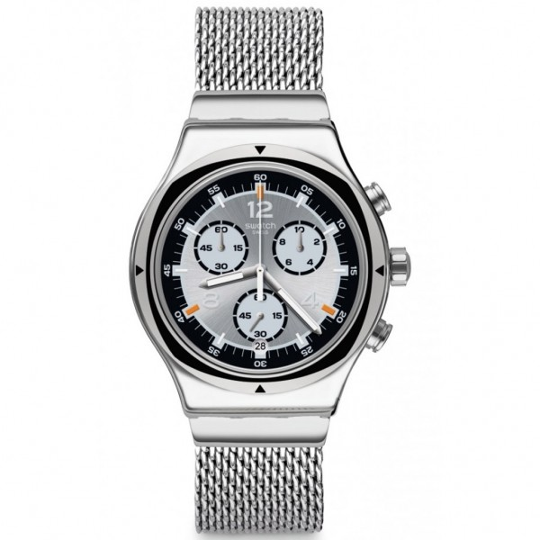 SWATCH TV Time YVS453MA Chrono Silver Stainless Steel Bracelet Large