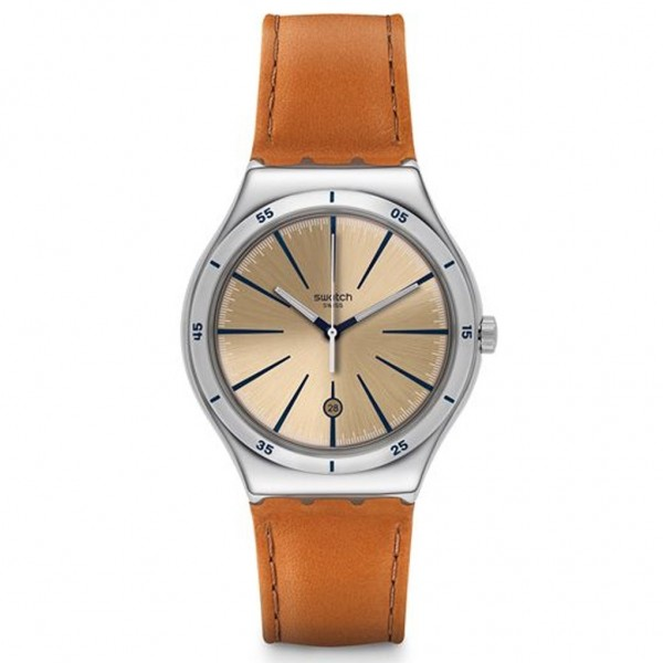 SWATCH Deep Hole YWS408C Brown Leather Strap