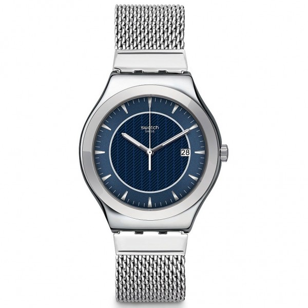 SWATCH Blue Icone YWS449MB Silver Stainless Steel Bracelet