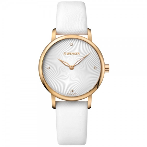 WENGER Urban Donnissima 01.1721.101 Crystals White Leather Strap