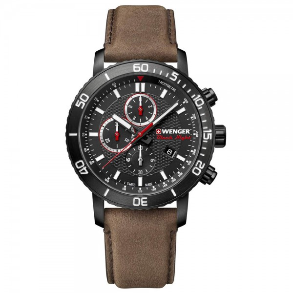 WENGER Roadster Black Night Chrono 01.1843.107 Brown Leather Strap